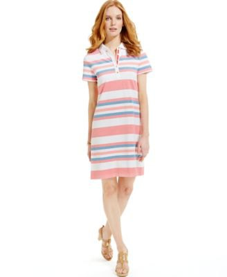 Rainbow color striped polo shirt dress outfit