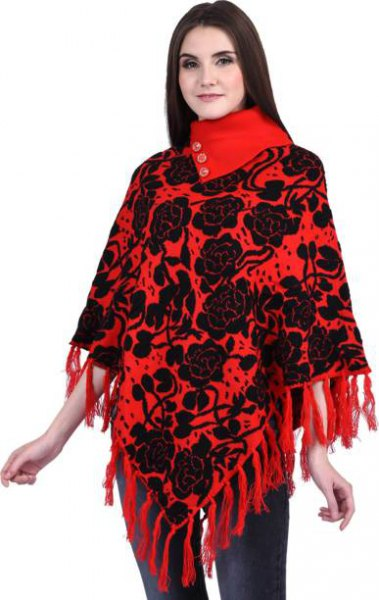red and black fringed scarf printed with flowers with dark blue skinny jeans