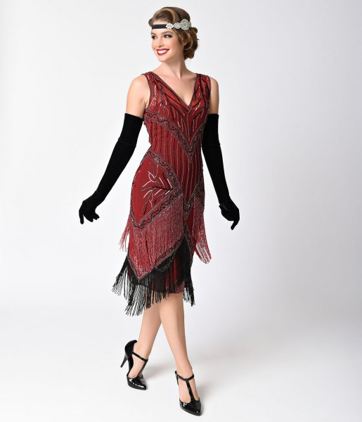 red and black fringed dress
