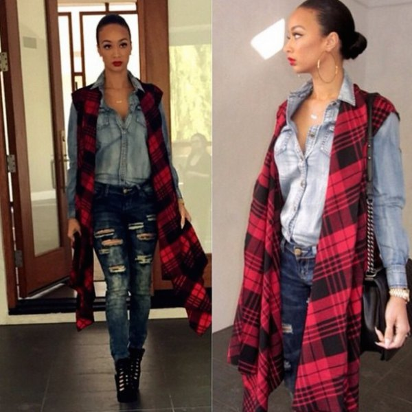 red and black long vest with a washed chambray shirt