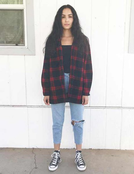 red and black oversized plaid flannel shirt with canvas sneakers