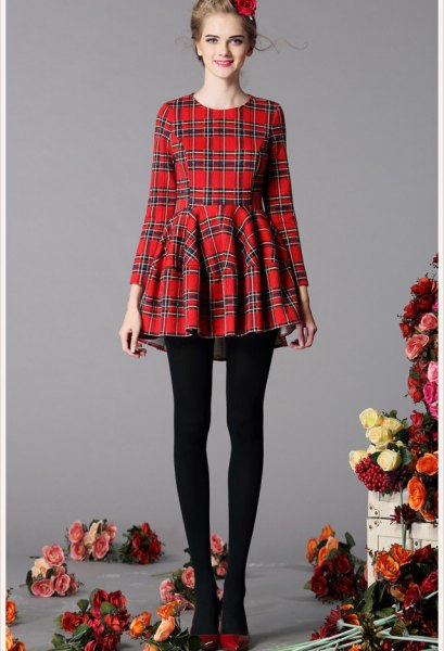 red and black checked fit and flare dress