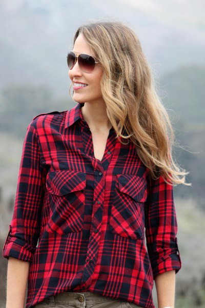 red and black plaid hiking shirt with gray jeans