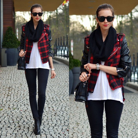 red and black plaid leather jacket white chiffon blouse