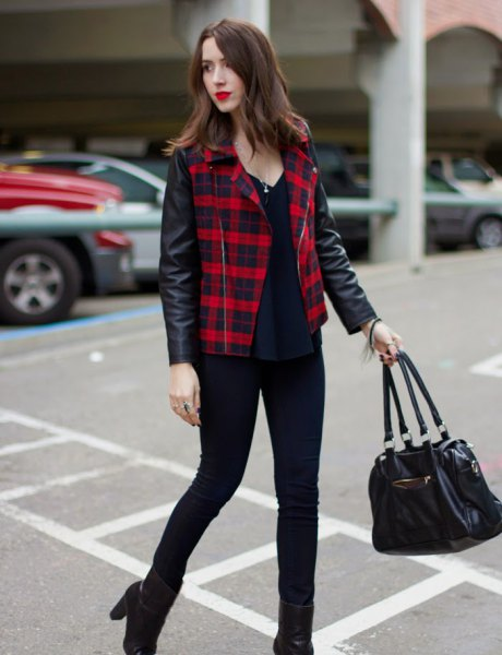 red-black checkered leather jacket
