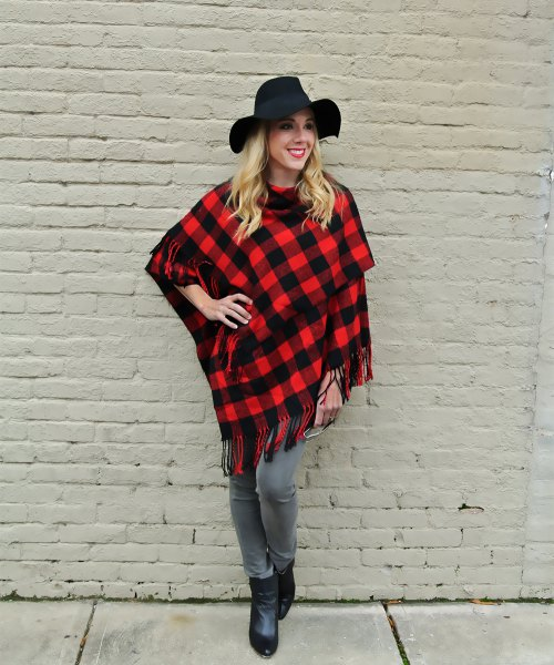 red and black plaid poncho floppy hat