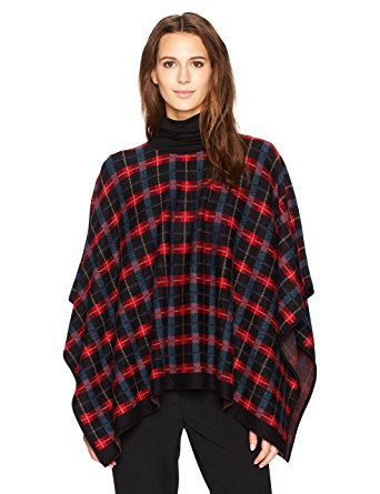 red and black plaid poncho mock neck sweater