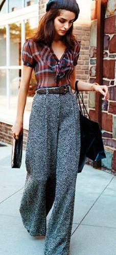 red and black plaid shirt, gray tweed pants with wide legs