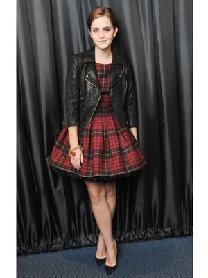 red-black checkered skater dress leather jacket
