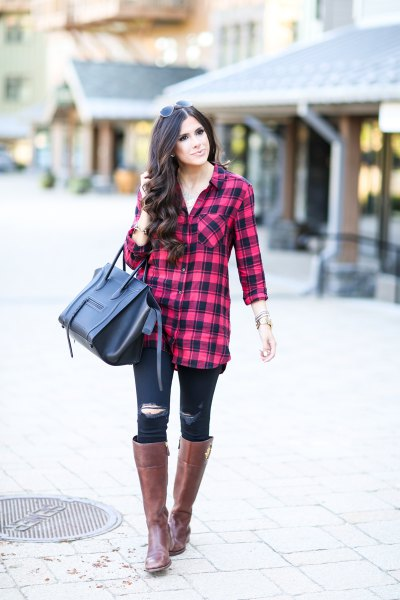 red-black checked tunic with torn skinny jeans and knee-high boots