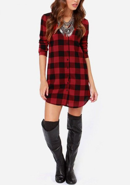 red and black checked tunic with thigh-high leather boots