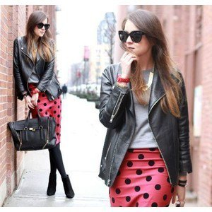 red and black dotted pencil skirt leather jacket