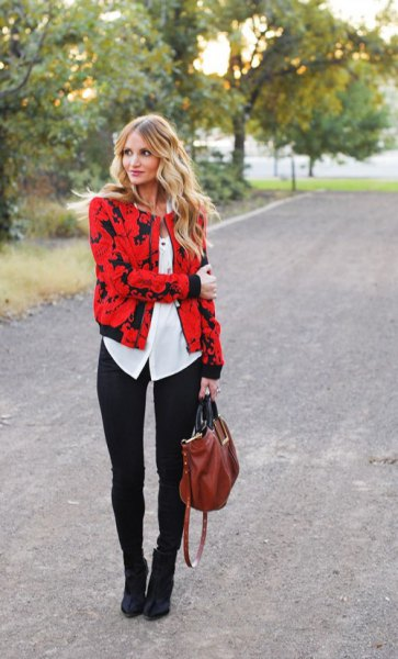 red and black printed jacket with white blouse with buttons