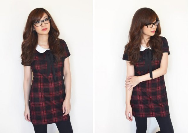 red and black short-sleeved mini tartan dress with white collar