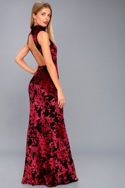 backless maxi dress with red and black turtleneck sweater