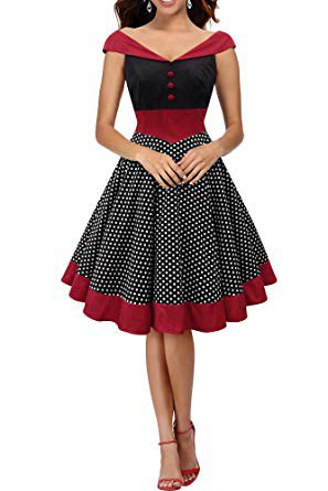 red and black V-neck cap sleeves, pleated, flared midi dress