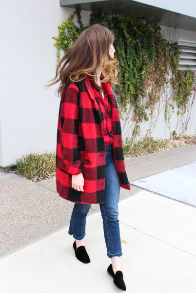 red and black wool coat with black suede loafers