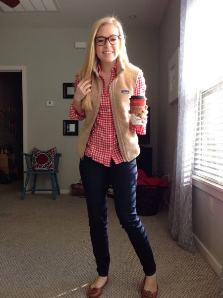 red and blue plaid shirt jeans