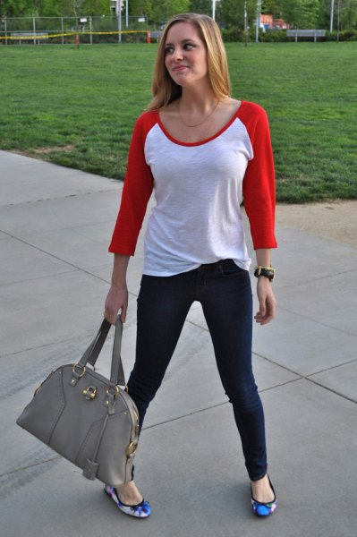 red and white baseball t-shirt with blue flower flats