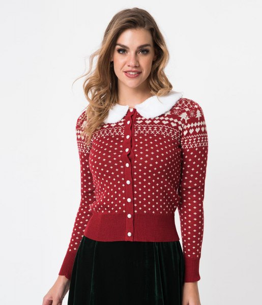 red and white Christmas printed cardigan with button and black skirt