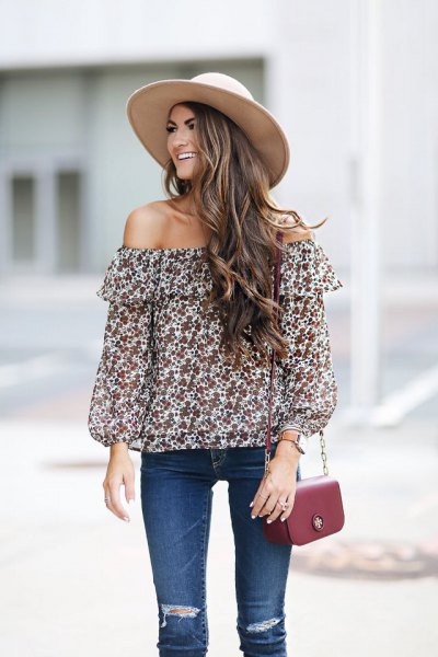 Off-the-shoulder red and white top with a floral pattern