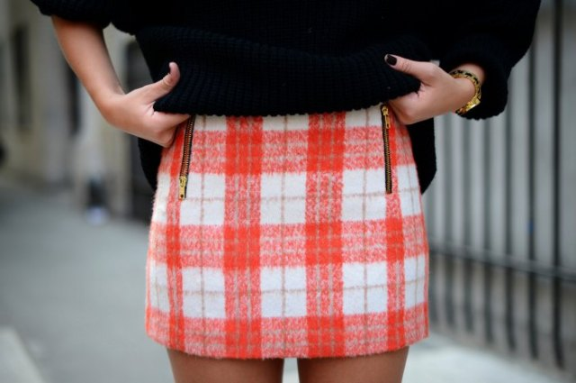 red and white checked mini wool skirt with black knitted sweater
