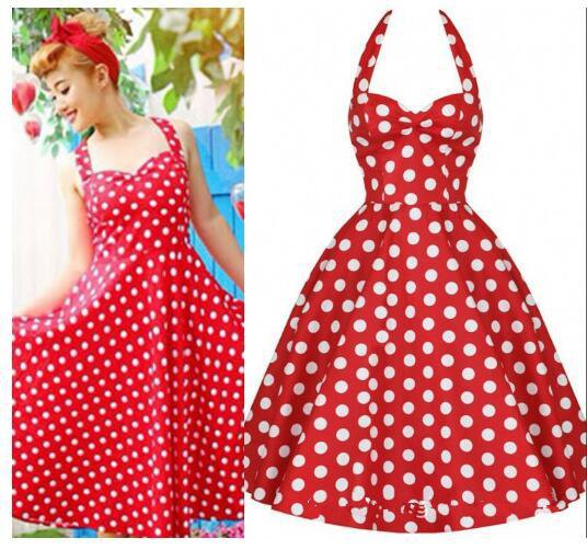 red and white dotted fit and flared pin-up dress