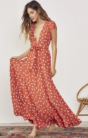 red and white padded maxi wrap dress