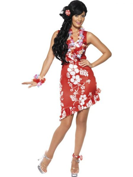 sleeveless mini aloha dress with red and white ruffles and silver heels
