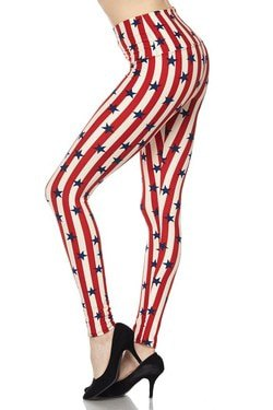 striped leggings with red and white stars and black ballerinas