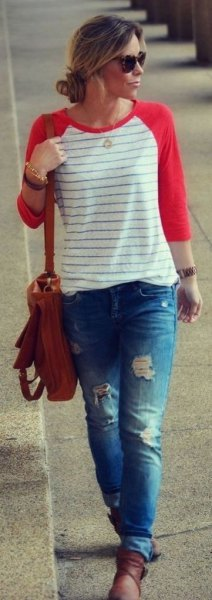 red and white striped baseball t-shirt ripped boyfriend jeans