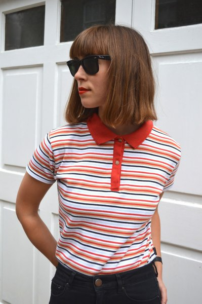 red and white striped polo shirt with black skinny jeans