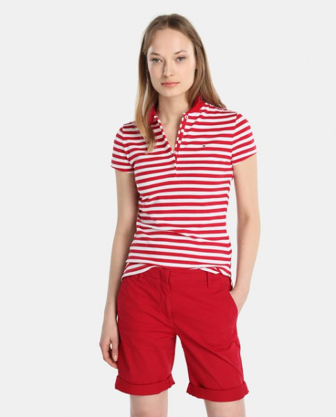 red and white striped polo shirt with knee-length shorts