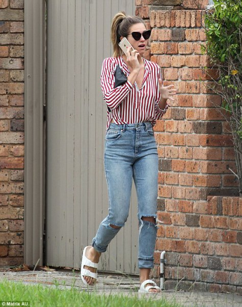 red and white striped shirt boyfriend jeans