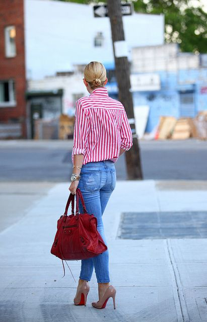 Red & White Candy Stripes | Brooklyn Blonde | Outfits with striped .