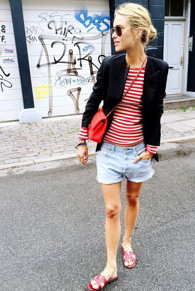 red and white striped t-shirt black blazer denim shorts