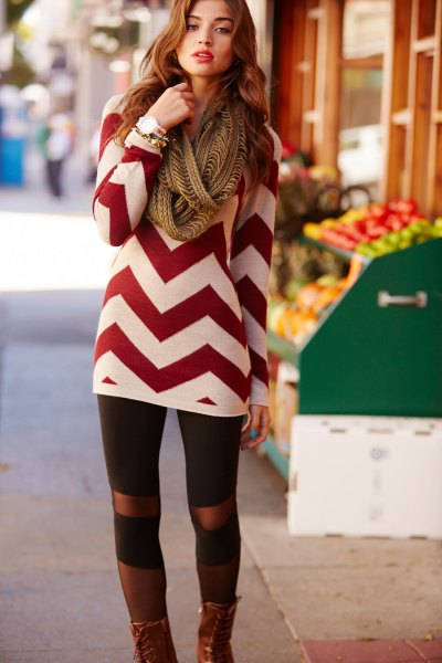 red and white zigzag patterned sweater dress with leggings