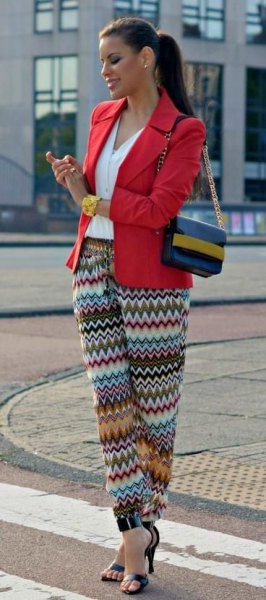 red blazer colorful tribal trousers