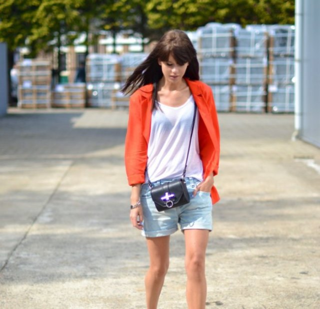 red blazer with light blue denim boyfriend shorts