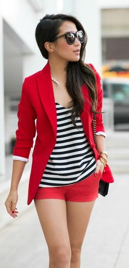 red blazer with matching shorts and striped tank top with scoop neckline