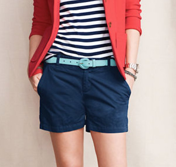 red blazer with striped t-shirt and dark blue chino shorts