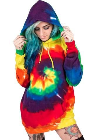 red blue and yellow tie-dye tunic hooded sweater dress with over-the-knee boots