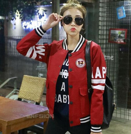 red bomber sports coat with black printed t-shirt