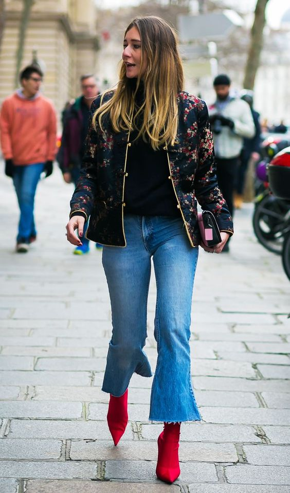 red ankle boots jeans bell bottom