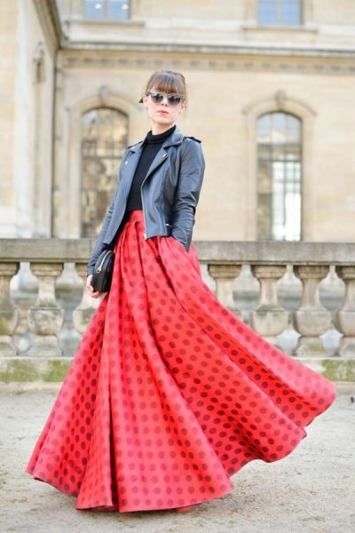 red airy maxi skirt black leather jacket