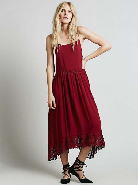 red airy slip maxi dress with strappy heels