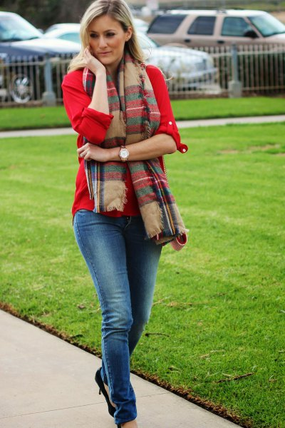 red button above crepe tartan scarf