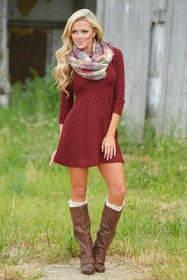 red cable knit mini flare dress with gray and white scarf