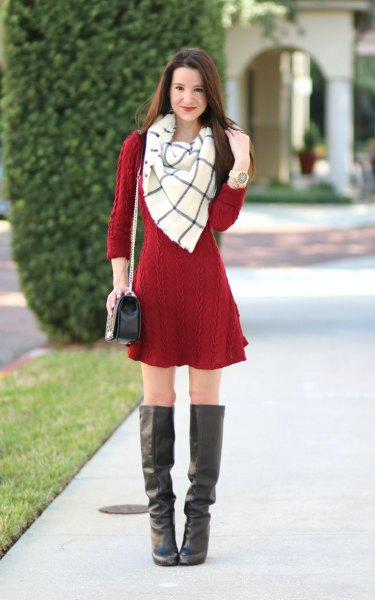 red cable knit mini sweater dress with white and gray wool scarf