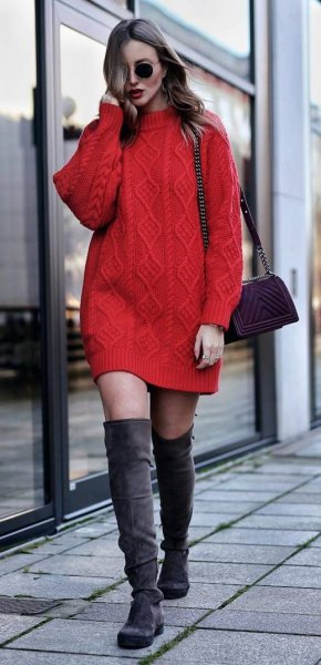red knitted sweater dress with gray overknee boots